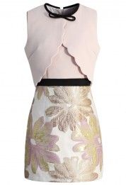 Tea Date Pink Dress with Scallop Flaps