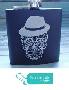 Sugar Skull Flask Dia de Los Muertos Day of the Dead for Him in Matte Black from Julies Heart https://www.amazon.com/dp/B017S25EMQ/ref=hnd_sw_r_pi_dp_8hIwxbM198ER0 #handmadeatamazon