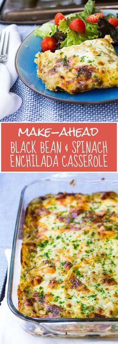Make-Ahead Black Bean & Enchilada Casserole -- an easy, gluten-free, healthy, kid-friendly make-ahead meal!   www.kiwiandbean.com