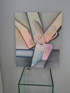 Het 'heden kijkdag bord' met teksten van Toon Hermans, geinspireerd door Morandi en Grise. Doek 50 x 60 mixed media en acryl.