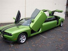 Dodge Challenger Limousine except i want mine in white not green Luxury Car Rental, Luxury Cars, Dodge Challenger, Limousine Car, Lamborghini Limousine, Dodge Vehicles, Automobile, Car Mods, Dodge Rams