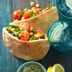 Garbanzo Bean-Veggie Pitas with Creamy Avocado Dressing