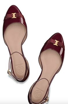 Tory Burch glossy ankle strap flats