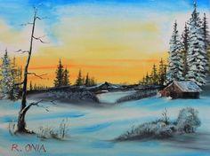 Winter Dusk by Remegio Onia Watercolor Scenery, Watercolor Landscape, Landscape Paintings, Watercolour, Barn Pictures, Winter Art, Beautiful Landscapes, Dusk, Art Drawings
