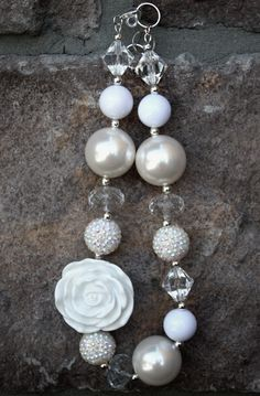 Shabby Chic White Rose Chunky Beaded Necklace.....Children, Baby, Toddler. $24.99, via Etsy.