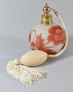 Stevens Williams Vintage White Rust Cameo Glass Atomizer Perfume Bottle   eBay