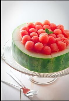 watermelon balls  reminds me of a party after a football game in 9th grade.  Happy memory.