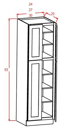 """93""""H - Wall Pantry Double Door"""