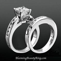 #PrincessCutDiamond engagement ring set Handmade Engagement Rings, Engagement Ring Styles, Designer Engagement Rings, Engagement Ring Settings, Diamond Engagement Rings, Solitaire Rings, 3 Carat Diamond Ring, 3 Stone Diamond Ring, Matching Wedding Bands
