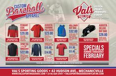 Baseball postcard for Val's Sporting Goods