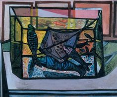 John Minton Fish in a Glass Tank Leeds Art Gallery, John Minton, Your Paintings, Abstract Paintings, Royal College Of Art, Art Uk, Cubism, Art Forms, Oil On Canvas