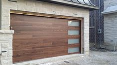 : Modern Garage Door Fiberglass Wood Grain Modern Door with 4 Frosted Lite instal. Modern Garage Door Fiberglass Wood Grain Modern Door with 4 Frosted Lite installed in Thornhill by architecture bathroomdecor bathroomremodel bohohomedecor Door ent Double Garage Door, Garage Door Windows, Wood Garage Doors, Garage Door Design, Timber Garage, Electric Garage Doors, Garage Gate, Contemporary Garage Doors, Modern Garage Doors