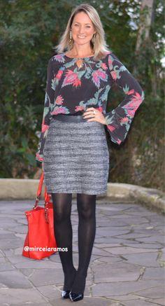 Look de trabalho - look do dia - look corporativo - moda no trabalho - work outfit - office outfit -  spring outfit - look executiva - fall outfit - meia calça preta   - tweed - scarpin - look de inverno - Winter - executiva -