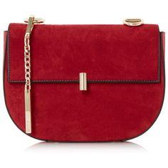 Dune Red 'Evita' snake chain mini saddle bag ($98) ❤ liked on Polyvore featuring bags, handbags, miniature purse, red purse, snake handbag, mini handbags and snake bag