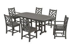 POLYWOOD PWS1211GY Chippendale 7Piece Dining Set Slate Grey ** Click on the image for additional details.Note:It is affiliate link to Amazon.