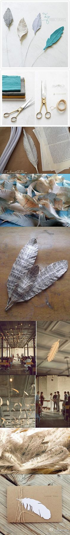 decoração com penas de papel e tecido