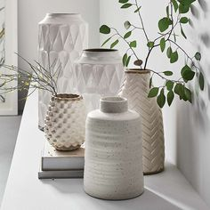 round vase farmhouse decor. matte black and white Unique minimalist handmade pottery rustic rectangular hand built patterned