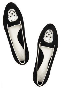Alexander McQueen. Sequin skull-embellished suede loafers.