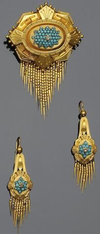 A Victorian turquoise brooch and earring suite