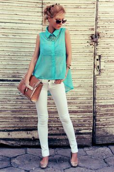 Simple summer outfit  White pants with light blue shirt   Women Fashion pics