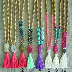 Tassel Necklace Beaded Necklace Long wooden di AllGirlsneed
