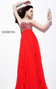 Classy Red Sherri Hill Prom Dress 3802 For Cheap