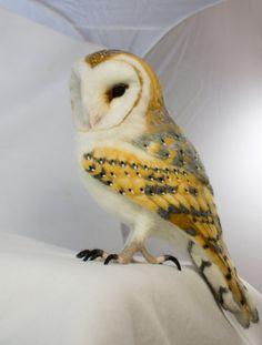 Needle Felted Barn Owl Sculpture by kiyoshimino on Etsy