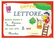 Risultati immagini per diploma di lettore per bambini