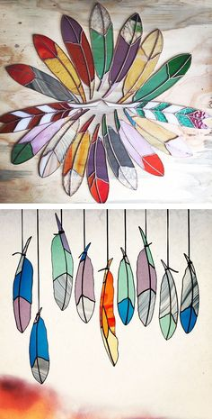 Love these stained glass feathers