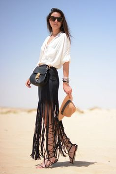 Fashionvibe in a button-down and fringe skirt