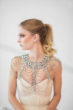 Statement crystal bridal shoulder necklace from PowderBlueBijioux via etsy #weddingjewelry #shouldernecklace