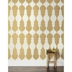 Karla Pruitt for Hygge & West Carved Ogee in White and Gold Wallpaper - Wallpaper - Walls