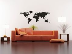 Forget the couch. Have the map etched on glass with a red back light to make the edges of the continents glow.
