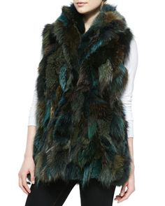 # Pologeorgis Shawl-Collar Fox Fur Vest, Green - LOVE. it reminds me of a peacock in fur :)