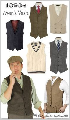 Style Men's Vests, Pullover Vests, Waistcoats Roaring Great Gatsby, style men's vests and waistcoats at 1920s Outfits, Vintage Outfits, Vintage Fashion, 1920s Mens Fashion Gatsby, 1920s Fashion Male, Mens 20s Fashion, Roaring 20s Fashion, Victorian Fashion, Great Gatsby Men Outfit