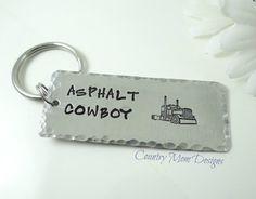 Asphalt Cowboy Semi Truck Tractor Key Chain Key Ring