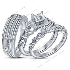 His & Her 925 Sterling Silver White Diamond Trio Ring Set All Size 1.10Carat