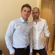 Nadav Lapid et sa chemise IRIS blanche, en compagnie de Brice Leverdez