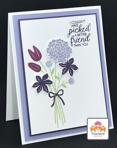 Purples and posies were used to create this clean and simple Stampin' Up! Beautiful Bouquet card. The card artist used five different flower blossoms. Can you believe there are four more?! There are also four more stems and leaves too. Those are just the stamps. Pair it with the...