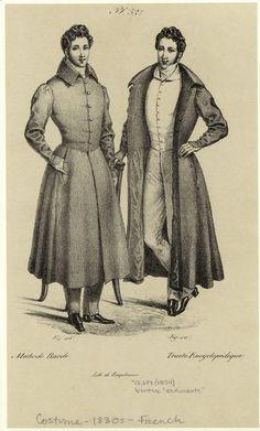 """Winter """"redingote."""" Men -- Clothing & dress -- France -- 1830-1839"""