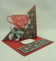 "Tea Cup Side Easel Card make that a coffee cup and a less ""grannies kitchen"" color scheme and we're good"