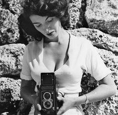 Bunny Yaeger with her Rolleiflex