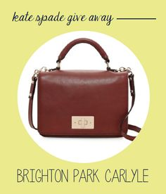 The Blue Dollhouse is giving away the Kate Spade Brighton Park Carlyle bag!  Enter on the site - www.thebluedollhouse.com