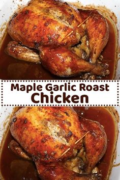 This is a great tasting roasted chicken recipe we really enjoy. The maple and garlic go well together. The skin turns out crispy and delicious, you cannot resist peeling it off the flesh and eating it all up.