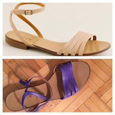 Reduced!  HP! J. crew lillibeth leather sandals Host pick at the date night party 4/19! Strappy yet comfy! African violet color, some wear on sole, but in excellent used condition! J. Crew Shoes Sandals