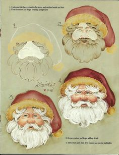 How to paint a Santa face. This is a Jeanne Zawicki pattern from decorative painting. Christmas Signs, Christmas Art, Christmas Projects, Holiday Crafts, Father Christmas, Pintura Country, Arte Country, Santa Paintings, Christmas Paintings
