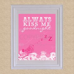 Always Kiss Me Goodnight // Archival Giclee Art by PaperRamma, $20.00