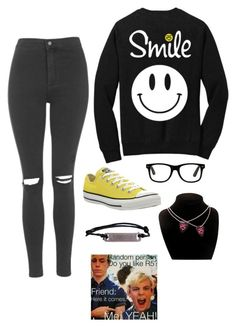 """""""Untitled #1944"""" by if-i-were-famous1 ❤ liked on Polyvore featuring Topshop and Converse"""