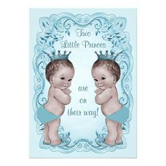 Shop Vintage Princes Boy Twins Ornate Blue Baby Shower Invitation created by GroovyGraphics. 1st Birthday Invitations Boy, Baby Boy 1st Birthday Party, Baby Shower Invitations For Boys, Bunny Birthday, Birthday Ideas, Twin Babies, Baby Twins, Twin Boys, Baby Boys