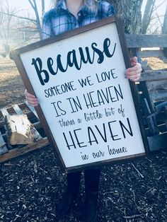 Someone we love in heaven Free Shipping ON SALE $38 All of our signs are custom made and great for your home decor. You can customize our signs with a variety of stain options and colors. Visit our website to see more details. #farmhouse #cute #diy #rustic #signs #loveit #custommade #gifts #valentinesday #homedecor